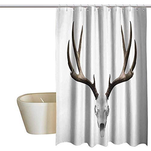 MaryMunger Antlers Decor Flower Shower Curtain A Deer Skull Skeleton Head Bone Halloween Weathered Hunter Collection Shower Curtain with Hooks W108 x -