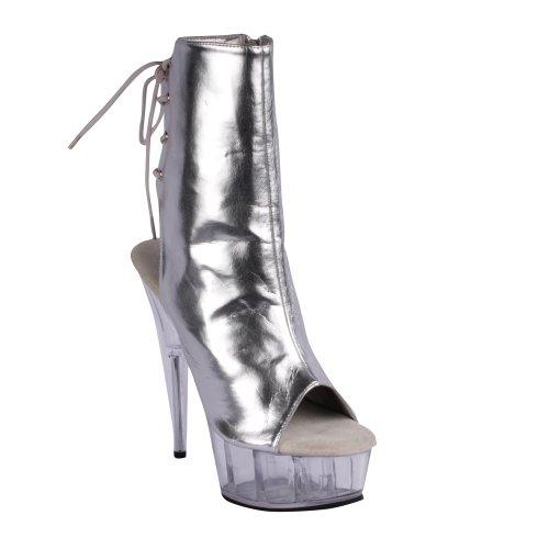 Pleaser Damen Delight-1018 Stiefel, Rot Silber