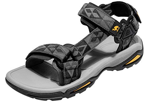 (CAMEL CROWN Waterproof Mens Hiking Sandals with Arch Support Open-Toe Summer Outdoor Comfort Beach Athletic Sandals Grey/Black)