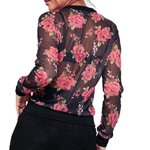 Manga Primavera Ropa Verano De Mujer Schwarz Chaqueta Vintage Con Larga Flores Casuales Transparentes Cazadoras Cremallera Moda Elegante Patrón Fino Outwear tqvXwI
