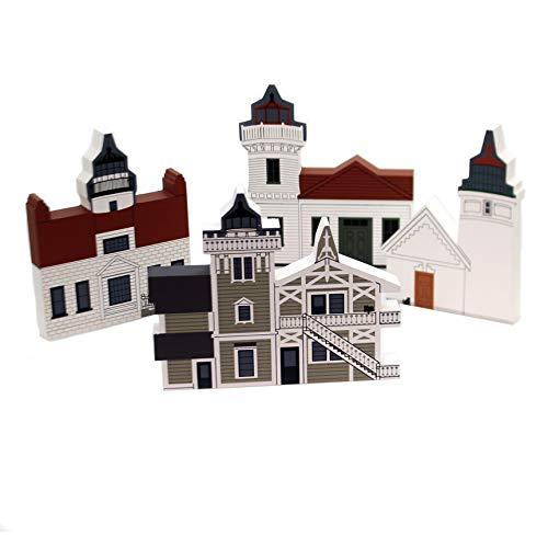 CATS MEOW VILLAGE WEST Coast Lighthouse Set / 4 Wood Retired West Coast Set/4