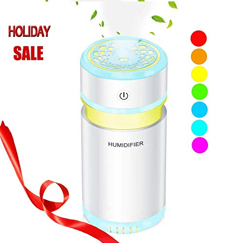Wpunwen Desktop Mini Cup USB Charging Cool Mist Humidifier 200ML Quiet Ultrasonic Mist Air Sprayer Continuous Intermittent Mode LED 7 Color Nightlight Ideal for Car Office Dorm Bedroom Blue