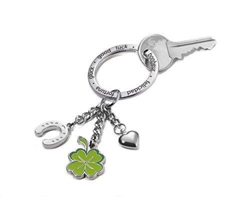 Porte-clés XL avec 3 anneaux: fer à cheval, trèfle à quatre feuilles et petit coeur Troika KR1306CH