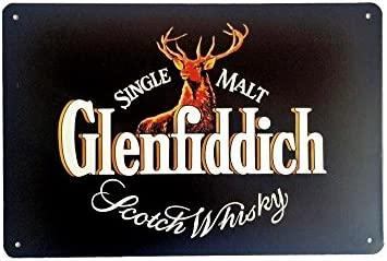 DiiliHiiri Cartel de Chapa Vintage Decoración, Letrero A4 Estilo Antiguo de metálico Retro-Glenfiddich