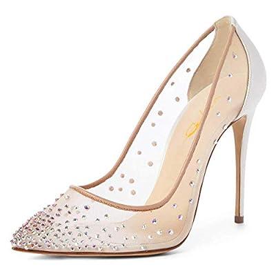 XYD Women Rhinestones Studded Stiletto High Heels Mesh Pumps Pointed Toe Evening Dress Shoes