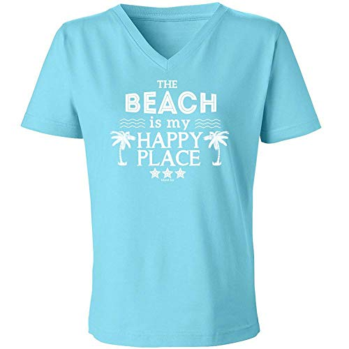 Island Jay The Beach is My Happy Place Ladies V-Neck T-Shirt (2X-Large)
