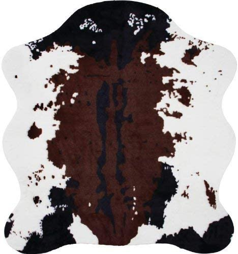 Classic Safari Cow Print Rug 56-inch x 61-inch with Slip-Resistant Backing for Added Softness and Safety