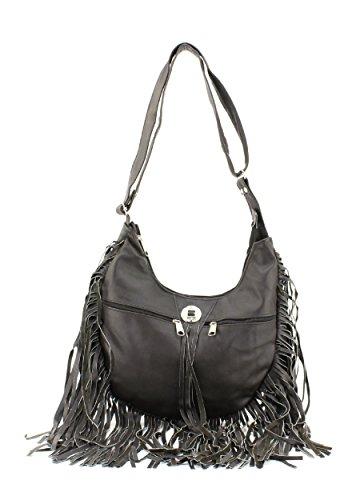Fringe Messenger Genuine Bag Leather Brown Hobo B1qTaTF6w
