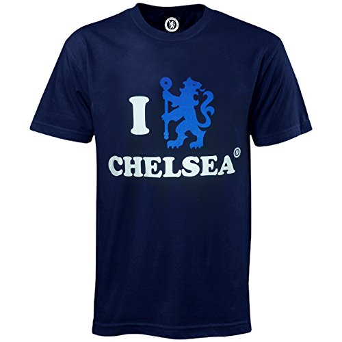 Chelsea Football Club Official Soccer Gift 'I Love Chelsea' Mens T-shirt Navy