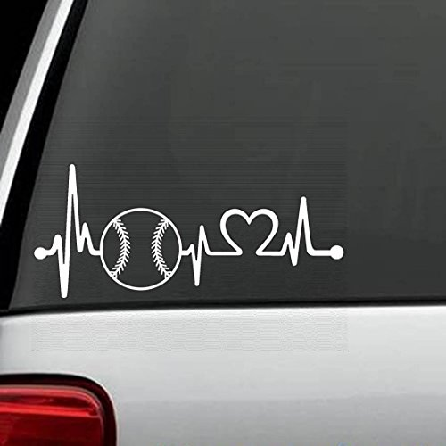 (K1103 Baseball Softball Heartbeat Lifeline Decal Sticker)