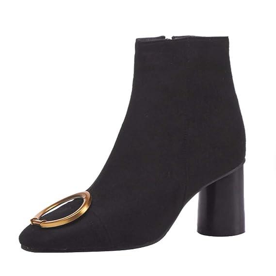 ... Gamuza Zapatos Retro remachados LILICAT® Cabeza Cuadrada de Espesor con Botas Silvestres Cremallera Lateral Botas de Mujer: Amazon.es: Juguetes y juegos