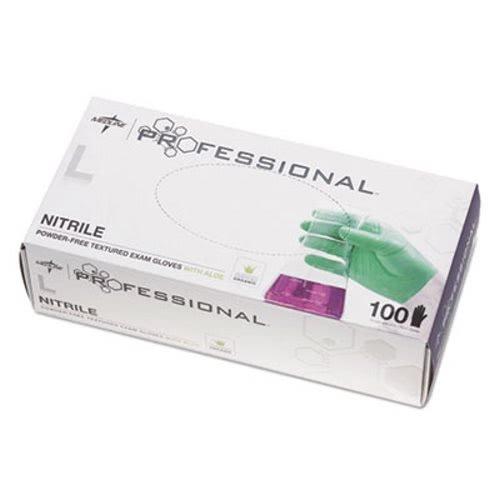 Medline Professional Nitrile Exam Gloves with Aloe, Green, Large - 1 BX