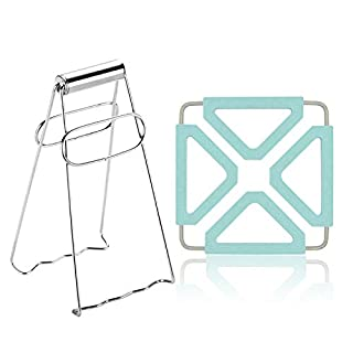 Kitchen Tongs for Cooking with A Silicone Trivets For Hot Dishes Small Tongs Bowls Pan Clamp Instant Pot Tongs Premium Stainless Steel Folding Hot Plate Dish Clip with Silicone Slip Coasters(Blue)