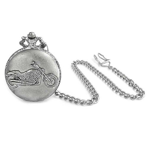 Bling Jewelry Large Antique Style Motorcycle Biker Mens Pocket Watch Rhodium Plated by Bling Jewelry (Image #1)