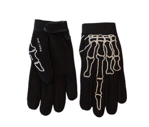 Skeleton Middle Finger Bone Textile Mechanic Gloves Size LARGE