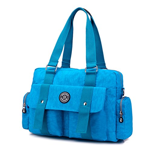 Duffel Water Azure Tote Capacity Women's TianHengYi Weekender Shoulder Nylon Bag Big Bag Resistant Handbags p0qwHx
