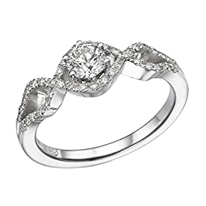 IGI Certified 14k white-gold Round Cut Diamond Engagement Ring (0.59 cttw, H Color, SI1 Clarity) - size 8.5
