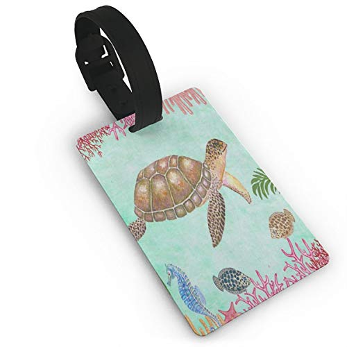 (Luggage Tags ID Labels With Back Privacy Cover For Travel Bag Suitcase Sea Turtle Underwatter World Coral Reef Watercolor)