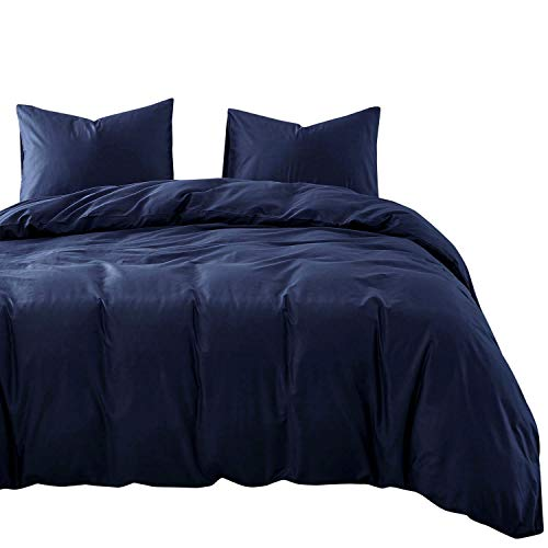 Wake In Cloud - Navy Blue Cotton Duvet Cover Set, 100% Cotton Bedding, Simple Modern Soft Solid Plain Color, Zipper Closure and Corner Ties (3pcs, Queen Size)
