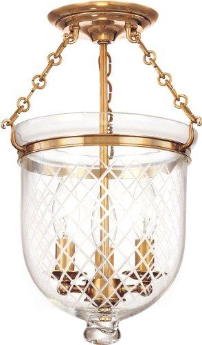 Hampton 3-Light Semi Flush - Aged Brass Finish with Clear Diamond Cut Glass Shade
