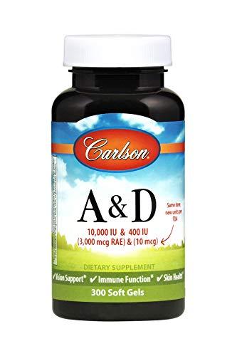 Carlson Vitamins A & D 10,000 IU (3,000 mcg RAE) + 400 IU (10 mcg), Bone & Immune Health, 300 Soft Gels