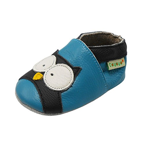 Sayoyo Baby Owl Soft Sole Leather Infant and Toddler Shoes (Blue,6-12 Months)