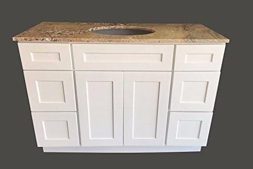 ホワイトシェーカーシングルシンクバスルーム洗面台ベースキャビネット幅48インチ x 奥行き21インチ V4821DLR
