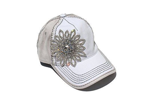 Women's Olive & Pique Large Rhinestone Flower Two-Tone Ball Cap (Ivory & Beige)