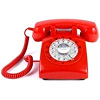 ECVISION 1960s STYLE Rotary Retro old fashioned Dial Home Telephone with Red Color