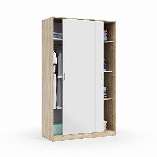 Habitdesign max120 F – Armoire Deux Portes coulissantes, Finition Couleur chêne Canadien et Blanc Artik, Dimensions: 200 x 120 x 50 cm de Fond