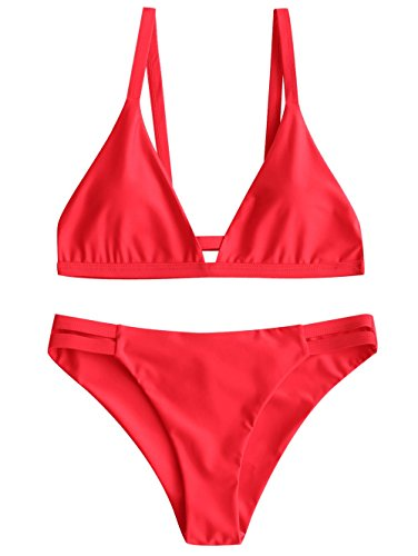 Ruched Cami Set - ZAFUL Women's Sexy Solid Color Spaghetti Straps Cami Ladder Cut Ruched Bathing Suit (Red M)