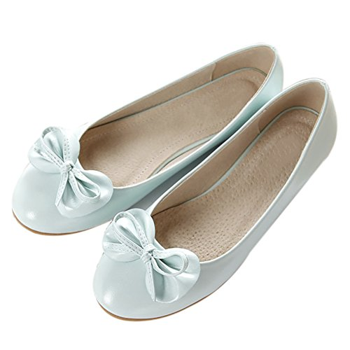 Toe Flat On Women's Slip Ballet QZUnique Boat Patent Basic Blue Light Shoes Round Leather BtqZvx8
