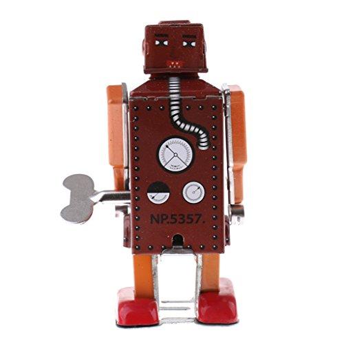 MonkeyJack Red Classic Mechanical Clockwork Wind Up Walking Robot Tin Toy Desktop Decor Ornaments (Robot Up Wind Classic)