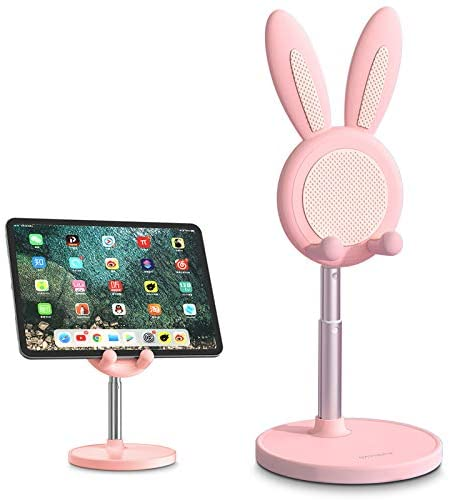 Bunny Phone Stand, iPhone Stand for Desk, Angle Height Adjustable Cell Phone Stand for Desk, Cute Rabbit Phone Holder Stand for Desk, Compatible with iPhone,Samsung,Pixel,iPad,Tablet(4-10in) (Pink)