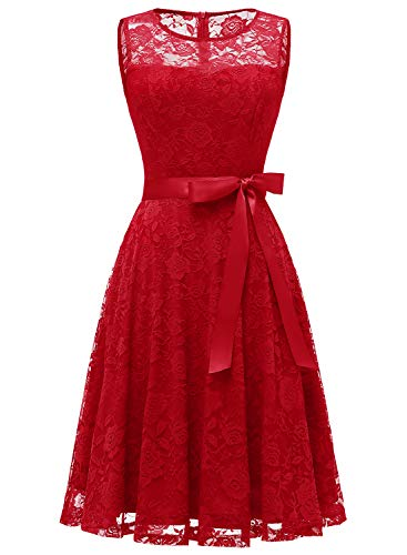 Dressystar 0009 Floral Lace Dress Short Bridesmaid Dresses with Sheer Neckline Red M (Red Dresses For Bridesmaid)