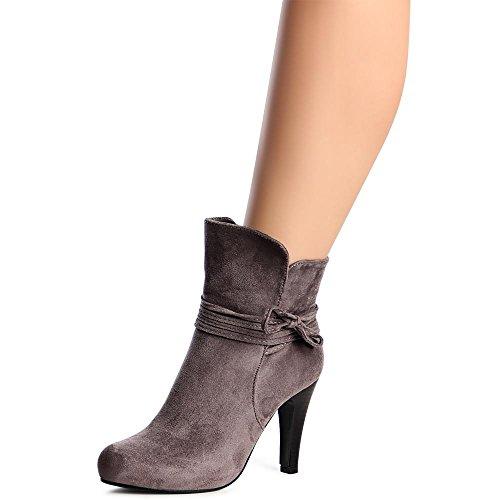 topschuhe24 1003 Damen Plateau Stiefeletten Ankle Boots Grau