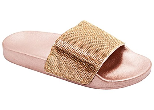 Lauren Nice Sexy Inexpensive New Rose Gold Cute Wide Band Sandal Open Toe Light Beach Flip Flop Slide Slip On Slipper Comfort Flat Athletic Camper Shoe for Sale Women Teen Girls (Size 6, Champagne)