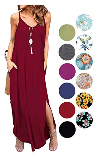 - LIYOHON Women's Summer Casual Loose Dress Beach Cover Up Plain Print Long Cami Maxi Dresses with Pocket Wine Red-M