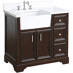 Zelda 36-inch Bathroom Vanity (Quartz/Chocolate): Includes a Quartz Countertop, Chocolate Cabinet with Soft Close Doors & Drawers, and White Ceramic Farmhouse Apron Sink
