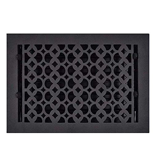 Floor Registers 8X12 for Home Décor - Elegant Re-Paintable Cast Aluminum HVAC Floor Vent with Metal Damper, Decorative Hardware for Living Room, Durable, Sand Casted, Powder Coated, Matte Flat - Black
