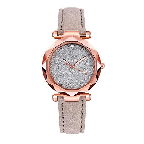 Women Watch Romantic Starry Sky Wrist Casual Leather Rhinestone Designer Ladies Clock Simple Dress (Color : A)