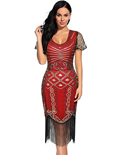1920 Dresses for Women V Neck Sparkly Sequin Flapper Great Gatsby Fringed Cocktail Dress (Red-2, XL)]()