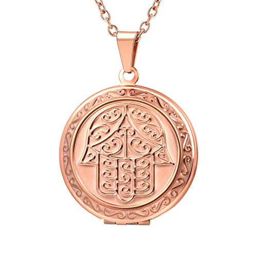 U7 Round Photo Locket Pendant Rose Gold Plated Rolo Chain Memorial Gift Necklace, Lucky Hamsa Hand Engraved Style