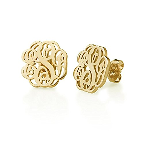 - Stan-Deed Monogram Stud Earrings Personalized 3 Letters Custom Made with Any Inital Women Jewelry (Gold)
