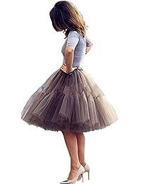 Imixshopps Women's 6 Layers Midi Mesh Tutu Tulle Skirts Petticoat Prom Party Dress