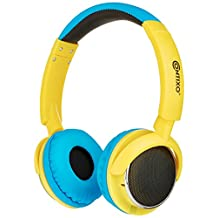 Contixo KB-300 Blue Kid Safe 85DB Over The Ear Wireless Bluetooth Led Headphone, FM Stereo Radio, Audio Input, (Blue)