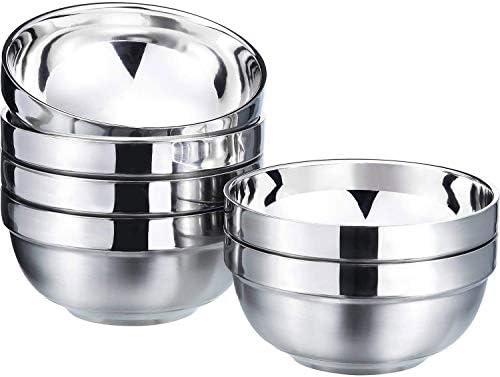 COTOM 6er-Pack 13 Unzen Edelstahlschalen-Set Doppelwandige Snackschalen aus isoliertem Metall