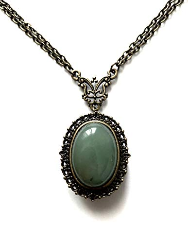 I.Love.Vintage Jewelry London 8th 19th Wedding Anniversary – Aventurine Necklace Watch Locket Gemstone Bronze – Boxed Gift Wrapped