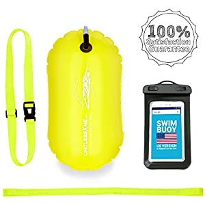 LimitlessXme Swim Buoy – Safety for Swimmers, Open Water and Triathlon. Pull Buoy for Adults and Kids. Yellow Signal…