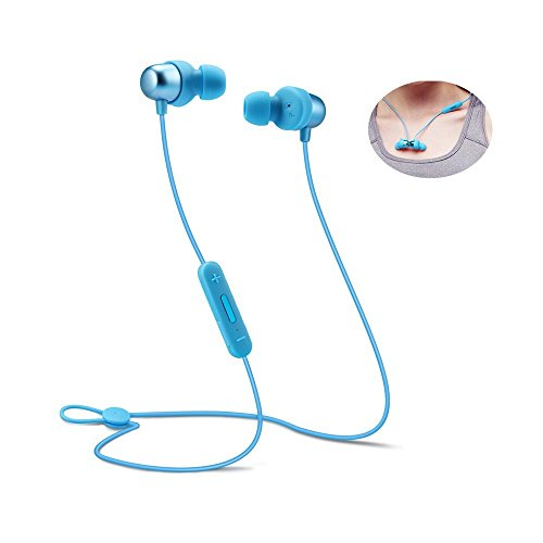 Bluetooth Headphones Sports Wireless Earbuds Sweatproof Headset Magnetic Attraction Stereo Earphones for Running Workout Gym Noise Cancelling SAN.COMO (H-Blue)